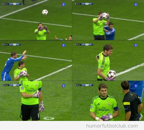 Fotos de cómo Sergio Ramos lesiona a Iker Casillas en el Real Madrid vs Galatasaray