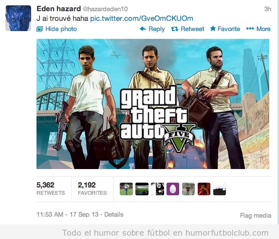 Portada del videojuego GTA con Hazard, Oscar y  Juan Mata