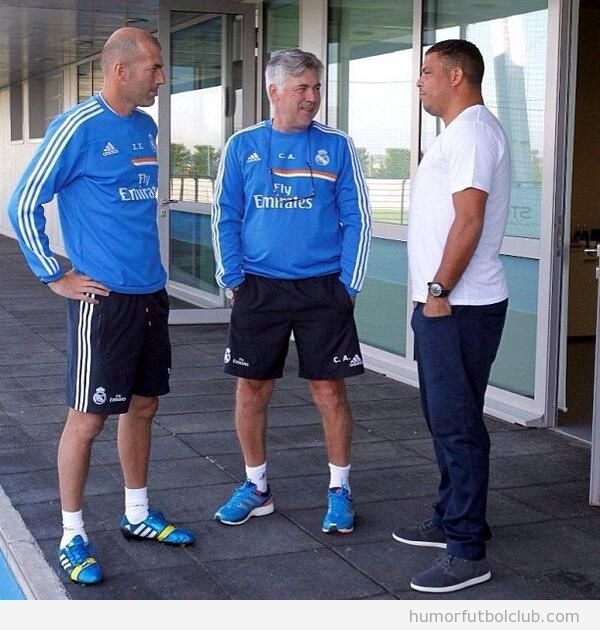 Foto de Ronaldo Nazario con Zidane y Ancelotti