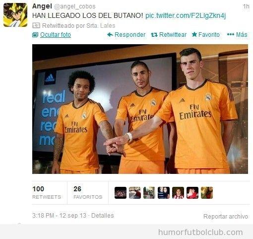 Tweets graciosos fútbol sobre la camiseta naranja del Real Madrid
