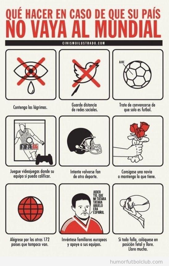 Infografía graciosa, qué hacer si tu país no va al Mundial Fútbol Brasil 14