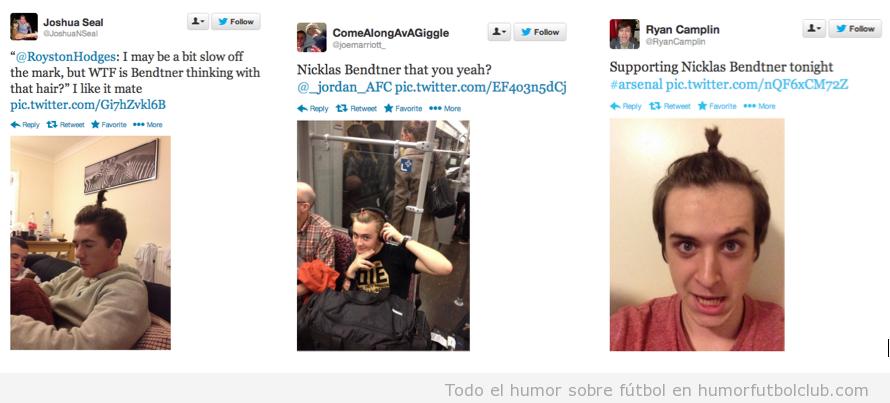 Fotos graciosas de los aficionados del Arsenal con el peinado raro de Nicklas Bendtner