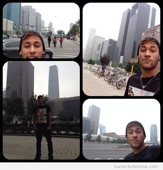 Autofotos ridículas de Neymar en China