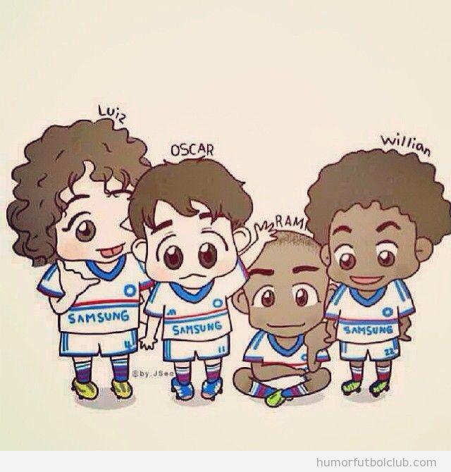 Dibujo gracioso de David Luiz, Oscar, Ramires y Willian,m los brasileños del Chelsea