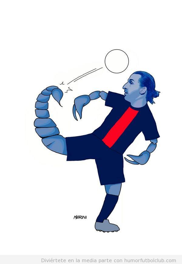 Viñeta graciosa de Ibrahimovic convertido en escorpión