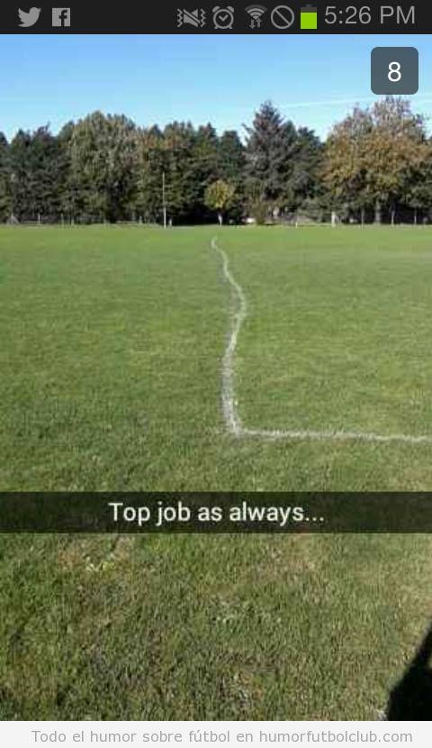 Imagen divertida de un campo de fútbol con las líneas torcidas