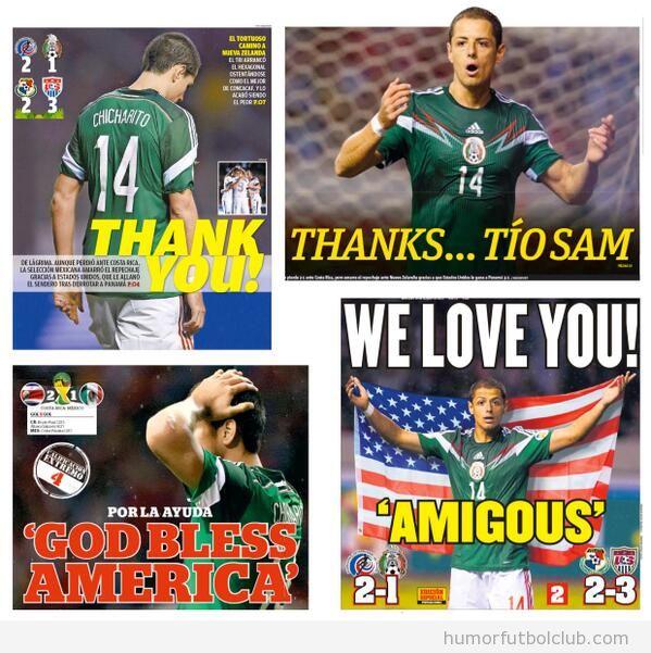 Portadas graciosas de los periódicos mexicanos dando gracias a USA
