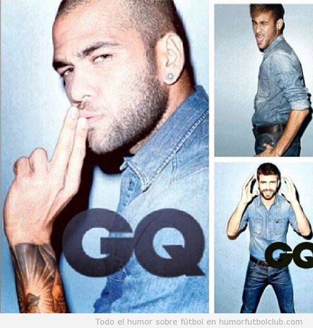 Alves, Neymar y Piqué posan con tejanos para la revista GQ