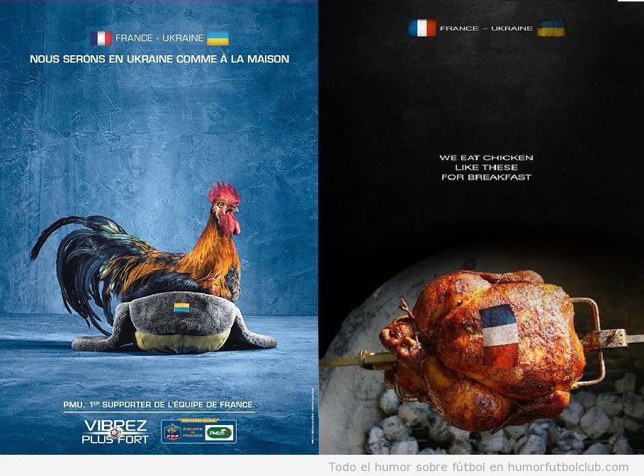 Poster gracioso de Francia vs Ucrania, Gallina vs Pollo