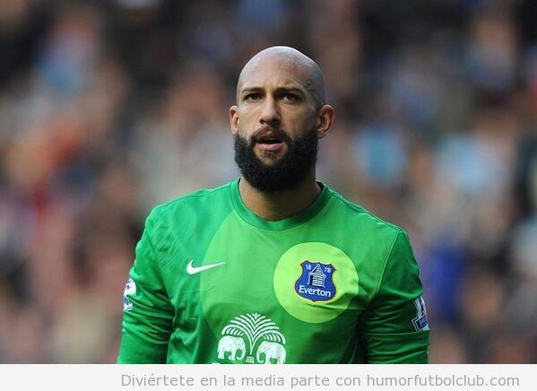 Tim Howards con barba en el Everton Tottenham