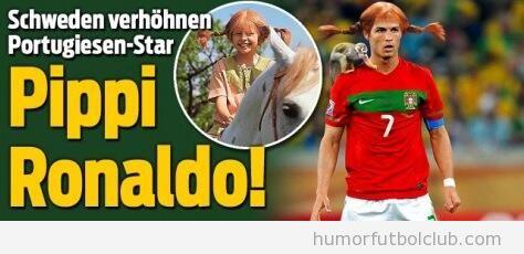 Periódico sueco hace un fotomontaje de Cristiano Ronaldo como Pippi Calzaslargas