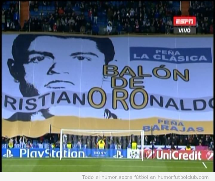 Pancarta Bernabeu Cristiano Ronaldo Balón de oro