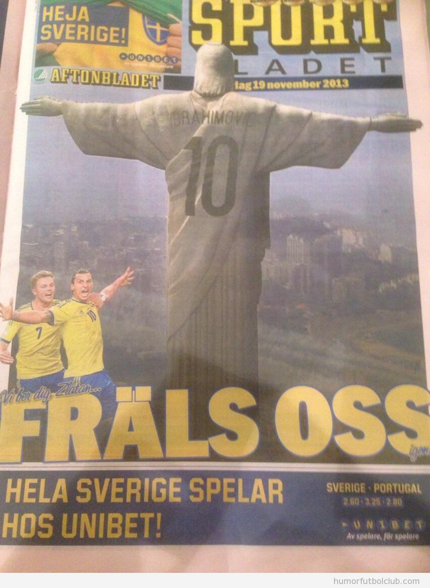 Portada periódico sueco Ibrahimovic como Cristo redentor