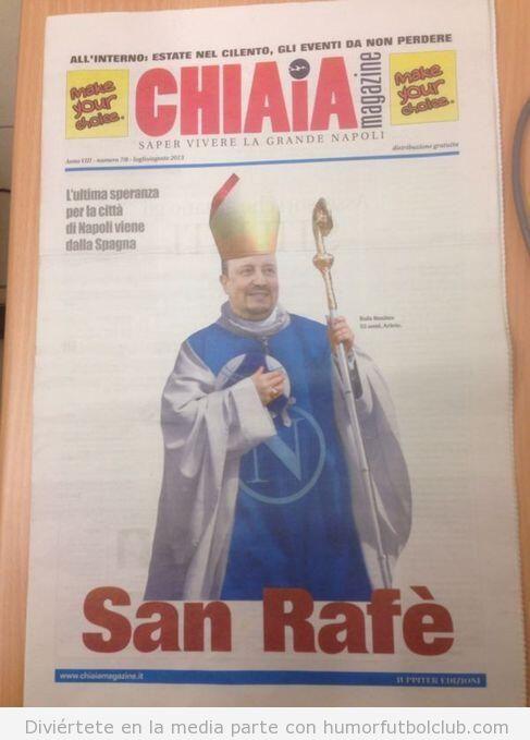 Portada de una revista de Nápoles donde aparece Rafa Benítez como santo