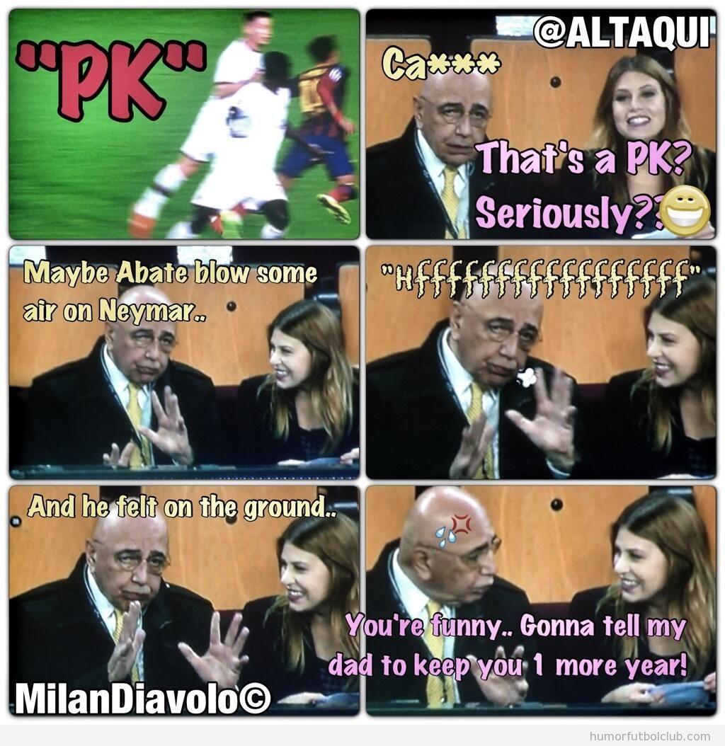 Fotomontajes de la reacción de Galliano y Bárbara Berlusconi ante el piscinazo de Neymar en el AC Milan vs Barça