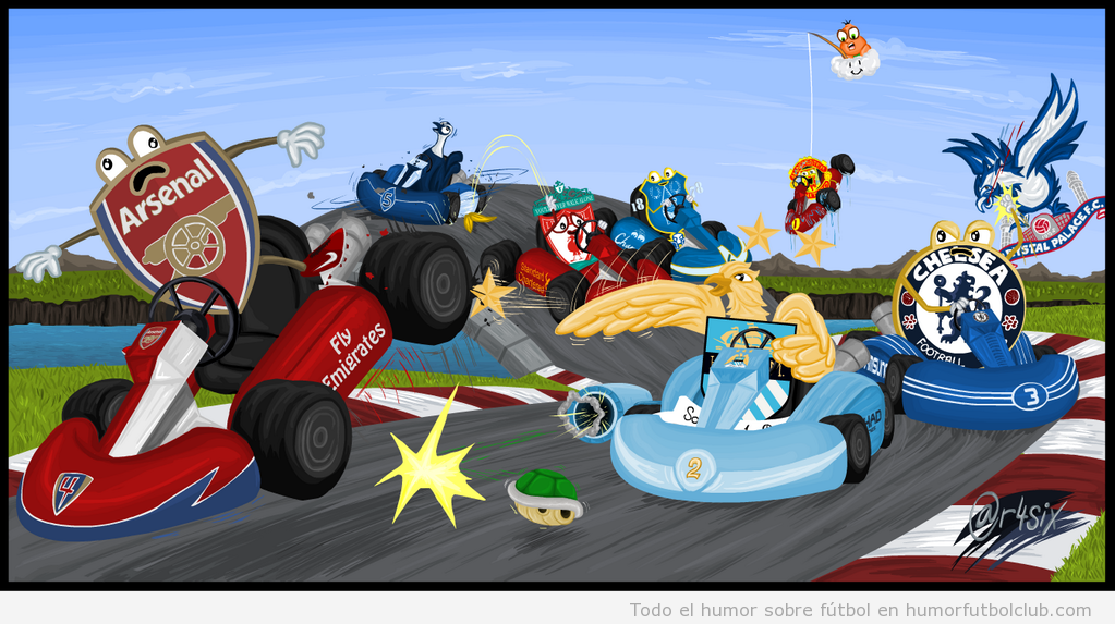 Dibujo gracioso de la Premier League como Mario Kart