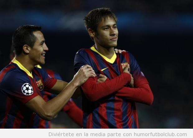 Nueva celebración gol Neymar con brazos cruzados
