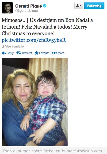 Imagen divertida Pique, Shakira y Milan felicitando la Navidad