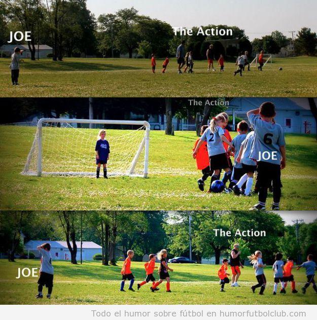 Fotos graciosas de un niño en un partido de fútbol