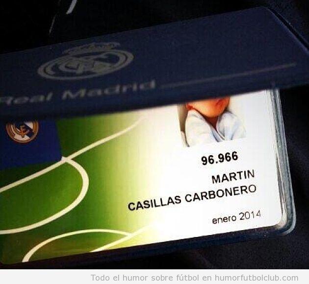 Carnet de socio del Real Madrid del hijo de Iker Casillas y Sara Carbonero