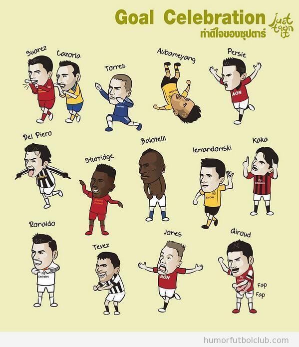 Viñeta graciosa fútbol con celebración de futbolistas