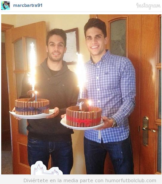 Foto de los hermanos Bartra celebrando su cumpleaños y su renovación de contrato