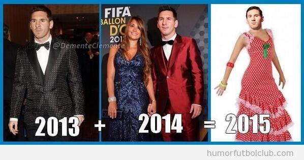 Foto graciosa, Messi traje lunares y rojo, de faralaes