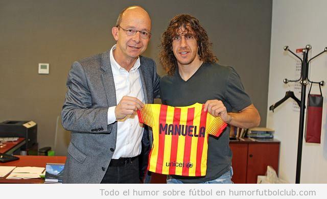 Puyol hace socia del Barça a su hija Manuela y ya tiene camiseta