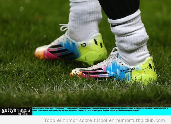 Foto de las nuevas botas de colorines de Messi
