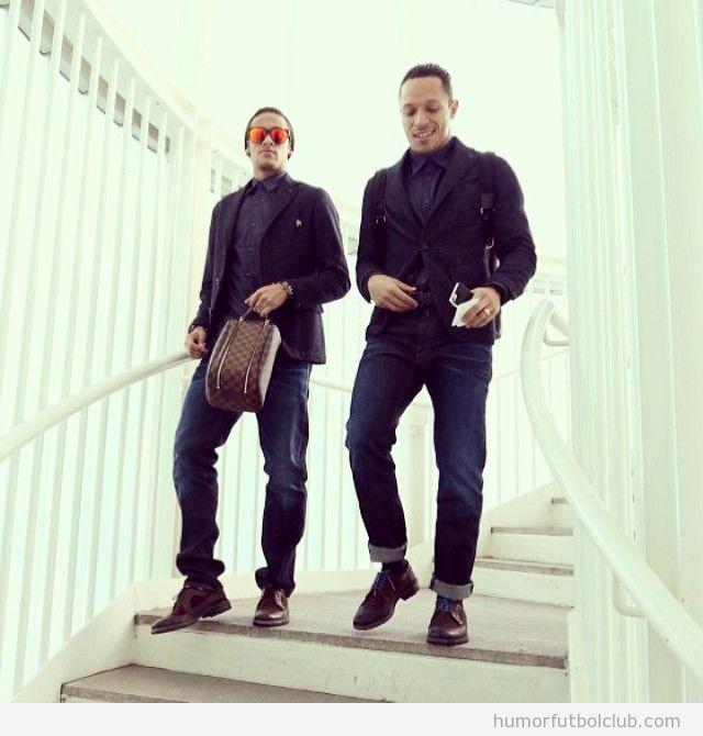 Neymar y Adriano con look hipster
