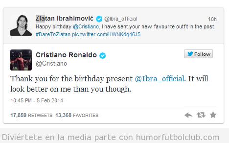 Tweet gracioso, Ibrahimovic felicita el cumpleaños a Cristiano Ronaldo