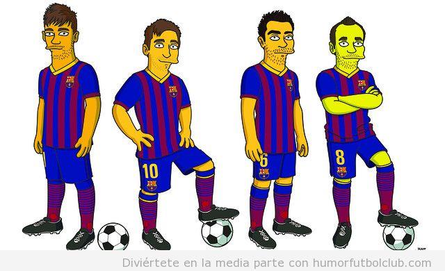 Xavi, Iniesta, Neymar y Messi personajes de Los Simpson