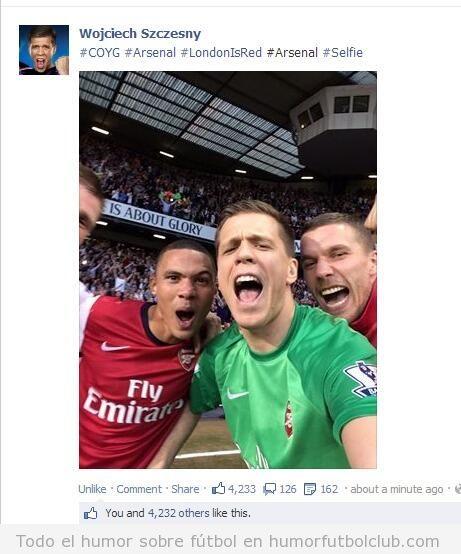 Foto graciosa Wojciech Szczesny selfie pitido final del partido