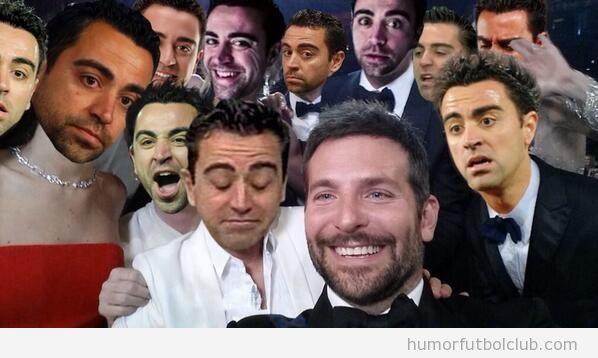 Fotomontaje gracioso Photoshop Selfie Oscar cion Xavi del Barça