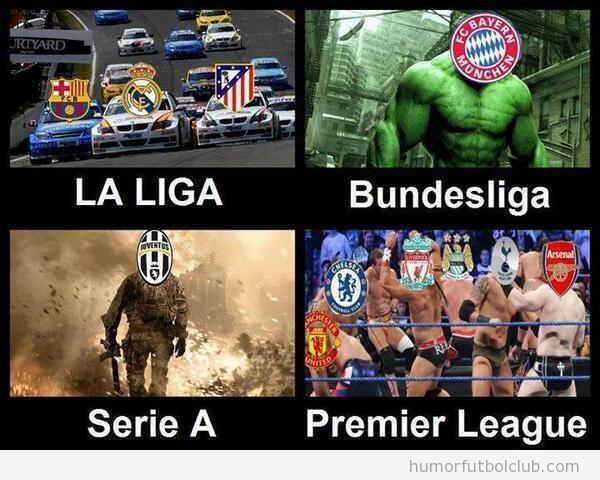 Meme gracioso fútbol, diferencia entre ligas europeas