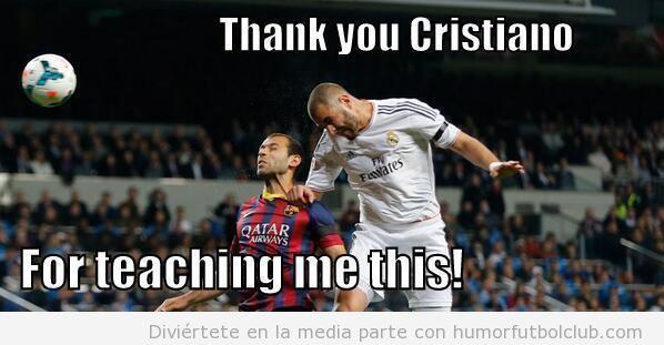 Meme de Benzemá metiendo el gol al Barça