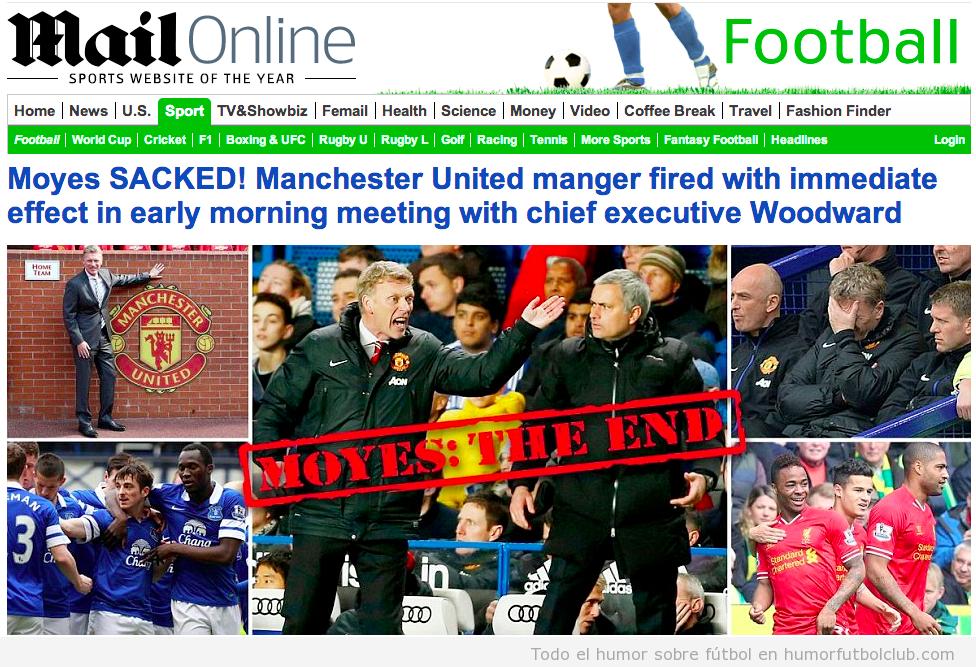 David Moyes despedido como entrenador del Manchester United