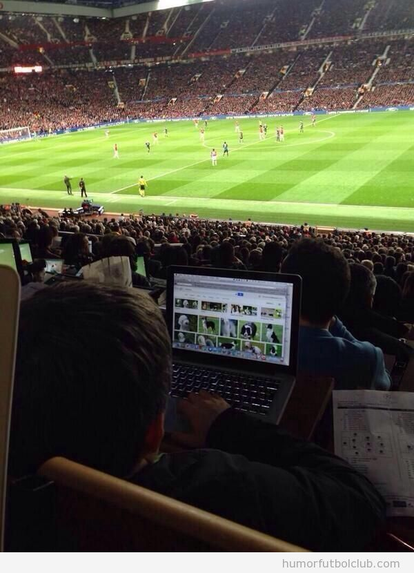 Periodista en zona prensa mira perros por Internet en Man United vs Bayern