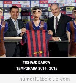Meme gracioso,el Barça ficha a un muñeco de futbolín