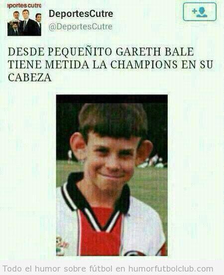 Meme gracioso Gareth Bale niño con Champions metida en la cabeza