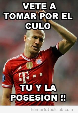Meme gracioso sobre Robben y la posesión del balón de Guardiola