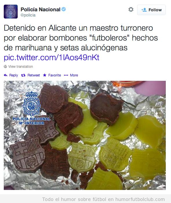 Tweet Policía Nacional sobre bombones Barça hechos con marihuana