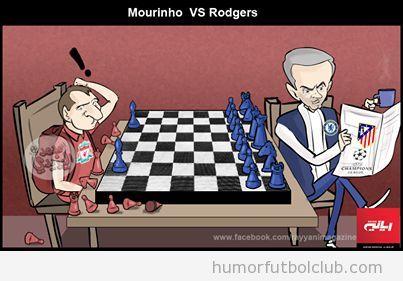 Viñeta graciosa de Liverpool vs Chelsea, Rodgers vs Mourinho ajedrez