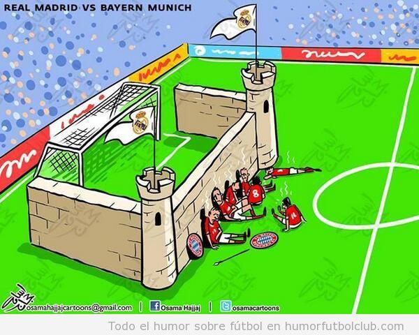 Viñeta graciosa fútbol Real Madrid - Bayern Munich, defensa