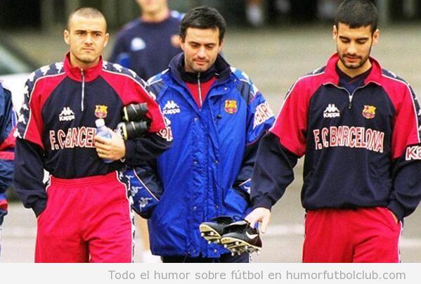 Foto curiosa de Luis Enrique, Mourinho y Guardiola en el Barça, temporada 97/98