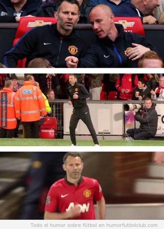Ryan Giggs entrenador y jugador del Manchester United salta al campo
