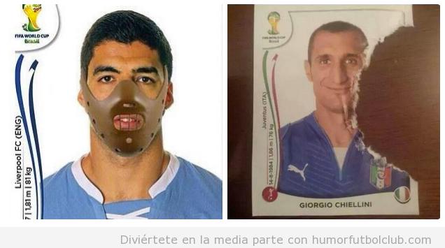 Cromo gracioso Luis Suárez y Chiellini, Humor mundial Brasil
