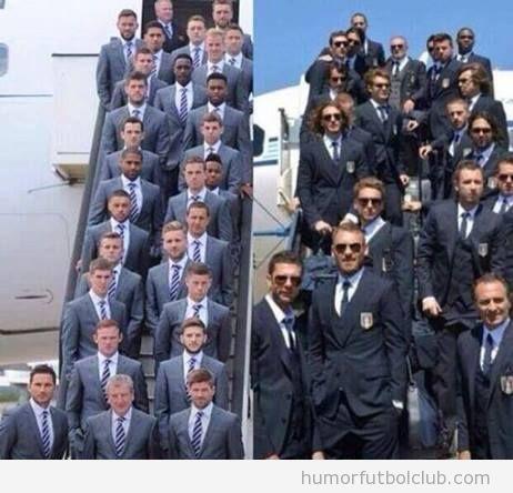 Foto graciosa, diferencias selección Inglaterra e Italia al llegar a Brasil