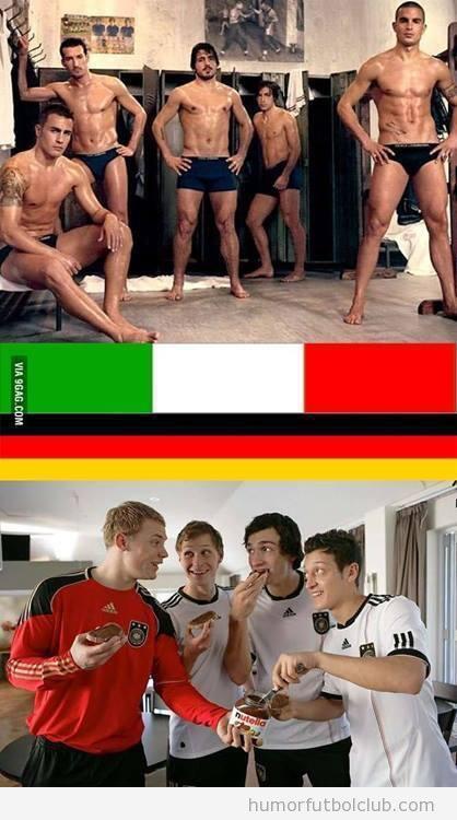 Fotos graciosas diferencia Italia y Alemania, Mundial Brasil