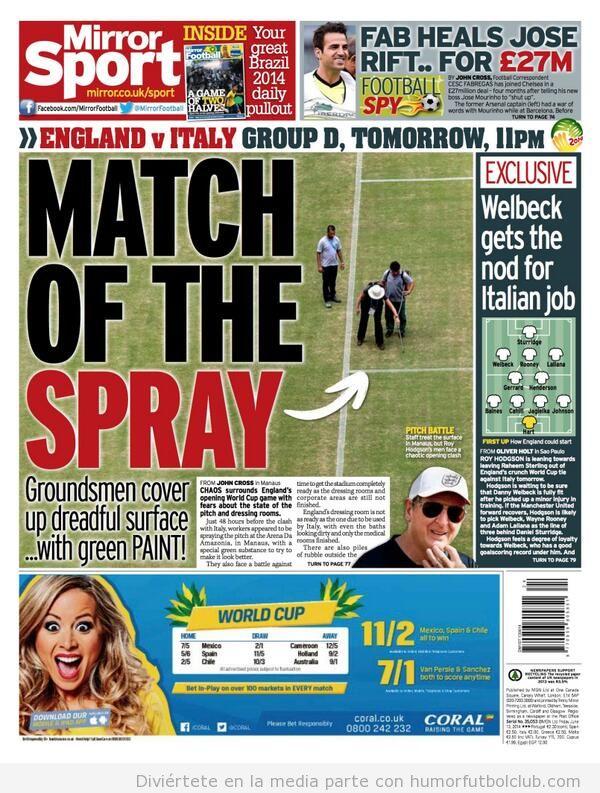 Foto graciosa Mundial Brasil, pintan con spray verd eel campo del Inglaterra vs Italia